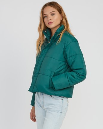 2 Eezeh Puffer Cropped Jacket Green W703QREE RVCA