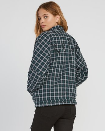 2 Caddy Plaid Flannel Jacket Green W703SRCA RVCA