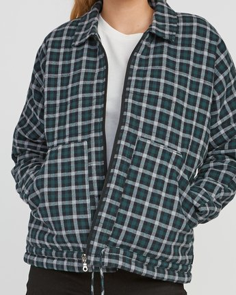 3 Caddy Plaid Flannel Jacket Green W703SRCA RVCA