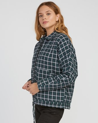1 Caddy Plaid Flannel Jacket Green W703SRCA RVCA