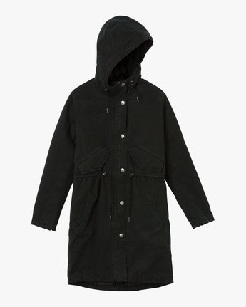 6 Highlands Longline Parka Jacket Black W705QRGR RVCA