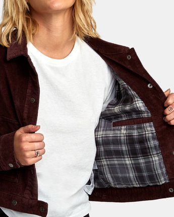 5 Out Out Corduroy Cropped Jacket Brown W705WROO RVCA
