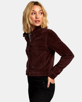 2 Out Out Corduroy Cropped Jacket Brown W705WROO RVCA