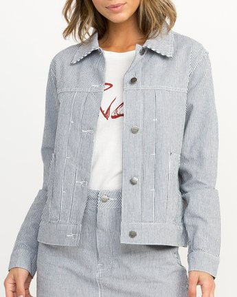 3 Garn Striped Denim Jacket Silver W706QRGA RVCA