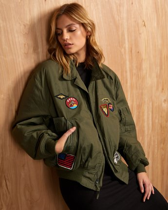 0 REBEL SOUL OVER SIZED MILITARY BOMBER Green W706WRRS RVCA