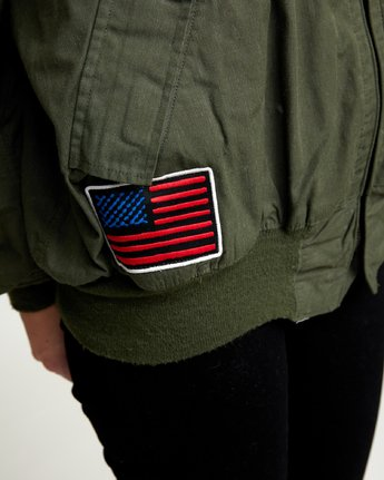 6 REBEL SOUL OVER SIZED MILITARY BOMBER Green W706WRRS RVCA