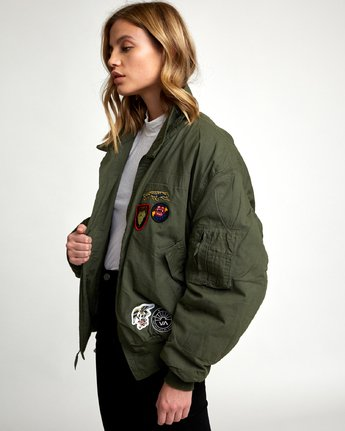 2 REBEL SOUL OVER SIZED MILITARY BOMBER Green W706WRRS RVCA
