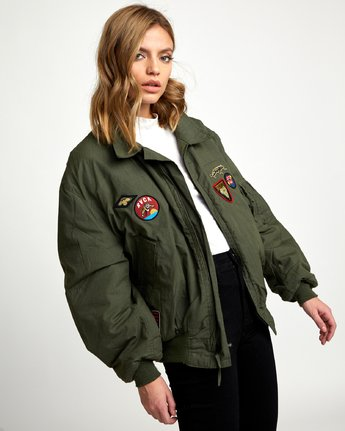 3 REBEL SOUL OVER SIZED MILITARY BOMBER Green W706WRRS RVCA