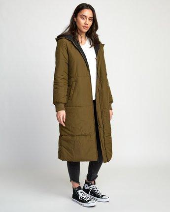 3 Camper Oversized Puffer Coat Green W708VRCA RVCA