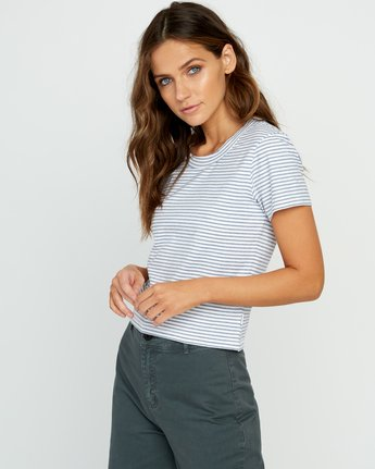 1 Fade Out Striped Baby Tee White W903URFA RVCA