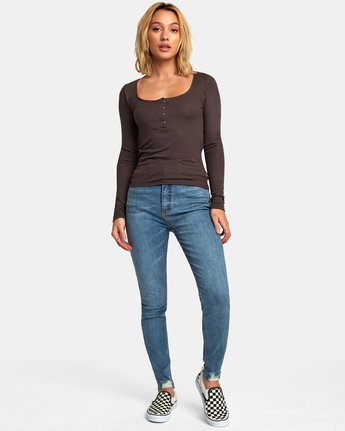 4 Guarded Ribbed Long Sleeve Top Blue W903WRGU RVCA