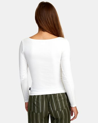 2 Guarded Ribbed Long Sleeve Top White W903WRGU RVCA