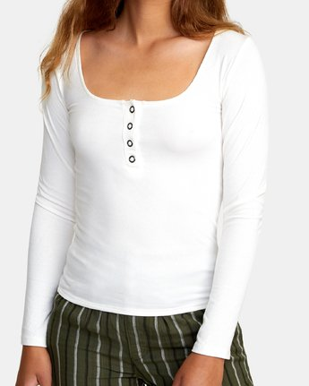 3 Guarded Ribbed Long Sleeve Top White W903WRGU RVCA