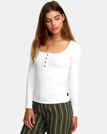 1 Guarded Ribbed Long Sleeve Top White W903WRGU RVCA