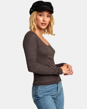 1 Guarded Ribbed Long Sleeve Top Blue W903WRGU RVCA