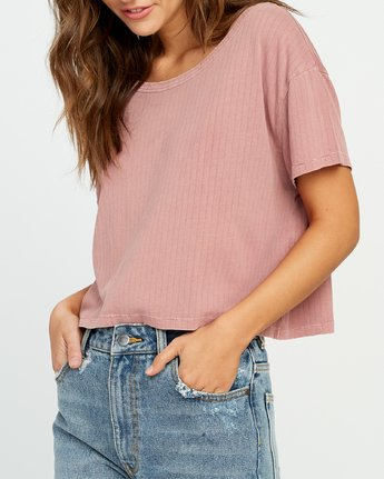 3 Headline Cropped Knit Top Brown W904URHE RVCA