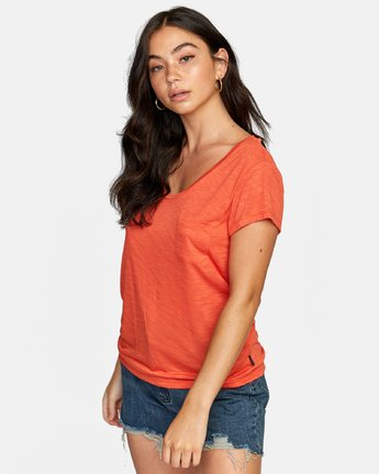 3 VINYL POCKET T-SHIRT Orange W904VRVI RVCA