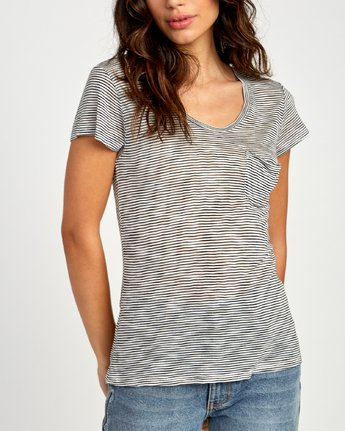3 Vinyl Jersey Knit T-Shirt White W904VRVI RVCA