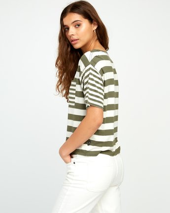 1 Raincheck Striped Knit Tee Green W905URRT RVCA