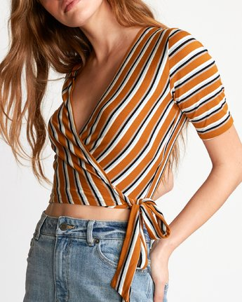 3 Lyra Wrap Crop Top Orange W905VRLY RVCA