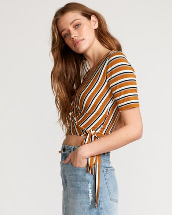 2 Lyra Wrap Crop Top Orange W905VRLY RVCA