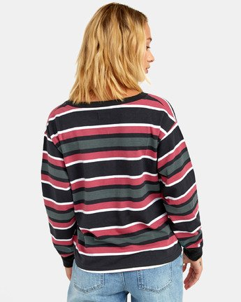 3 SIEGE STRIPED LONG SLEEVE T-SHIRT Black W9061RSI RVCA