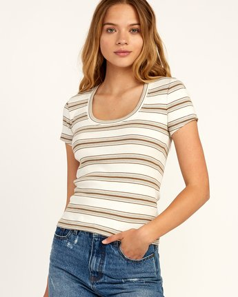 0 Seasons Change Striped Top Beige W907TRSC RVCA