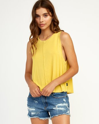 0 Happy Place Tank Top Yellow W908TRHA RVCA
