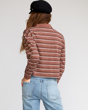 2 Junction Striped Long Sleeve Polo Brown W908VRJU RVCA