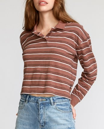 3 Junction Striped Long Sleeve Polo Brown W908VRJU RVCA