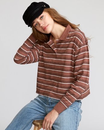 0 Junction Striped Long Sleeve Polo Brown W908VRJU RVCA