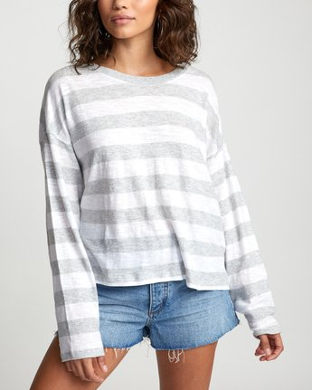 5 TALKIN CRAZY LONG SLEEVE TOP Grey W9093RTA RVCA