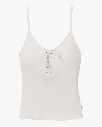 5 Hinged Lace-Up Cami Tank Top White W983TRHI RVCA