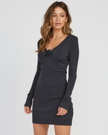 1 Knot Up Fitted Long Sleeve Dress Black WD04SRKN RVCA