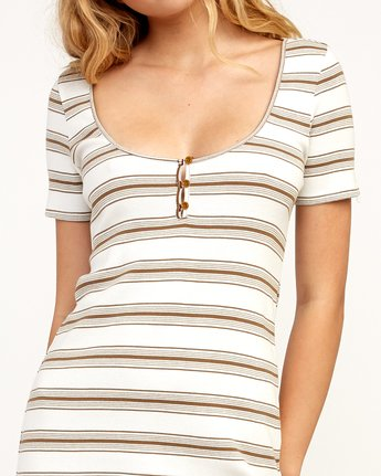4 Vamp Striped Knit Dress Beige WD04TRVA RVCA