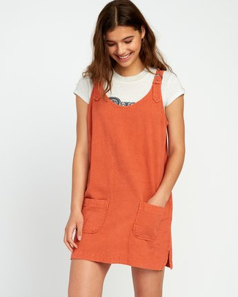 0 Teach That Textured Overall Dress Yellow WD04URTE RVCA