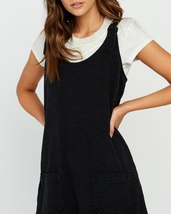 5 Teach That Textured Overall Dress Black WD04URTE RVCA