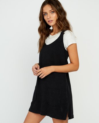 3 Teach That Textured Overall Dress Black WD04URTE RVCA