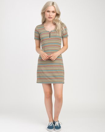 3 Zip It Ribbed Dress Multicolor WD05NRZP RVCA