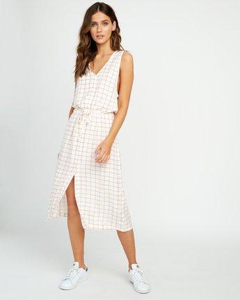 0 Kristen LW Strake Midi Dress White WD05URST RVCA