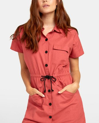 4 EDUCATE SHIRT DRESS Red WD081RED RVCA