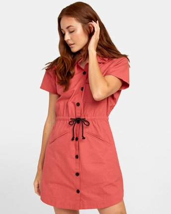 1 EDUCATE SHIRT DRESS Red WD081RED RVCA