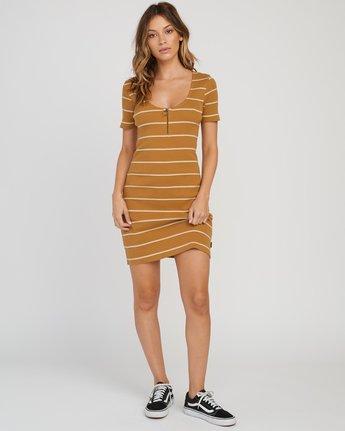 4 Donner Striped Knit Dress Yellow WD08SRDO RVCA