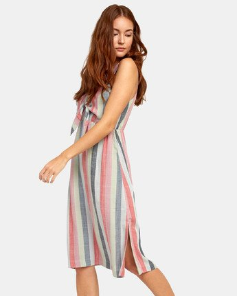 2 FLOSSIE STRIPED MIDI DRESS Grey WD101RFL RVCA