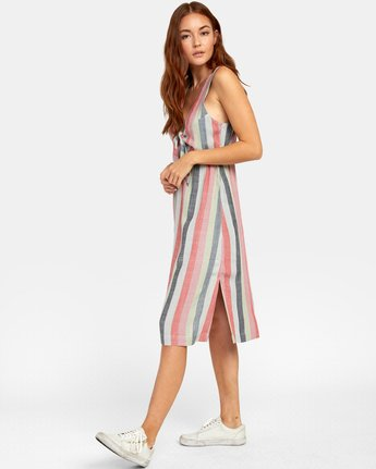 6 FLOSSIE STRIPED MIDI DRESS Grey WD101RFL RVCA