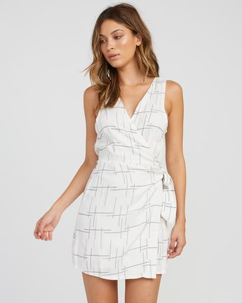0 Crossed Off Wrap Dress White WD10SRCR RVCA