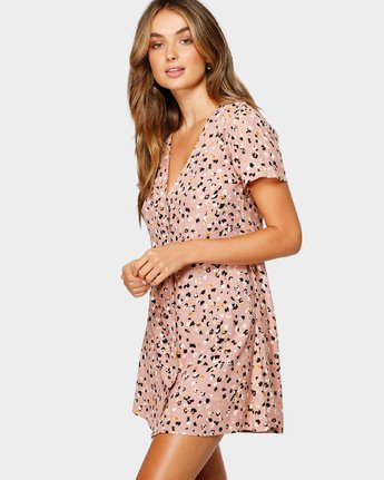 2 Pebble Button-Up Dress Brown WD10VRPE RVCA