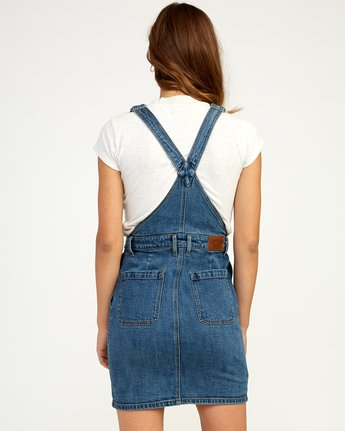 3 Conquer Denim Overall Dress Blue WD11TRCO RVCA