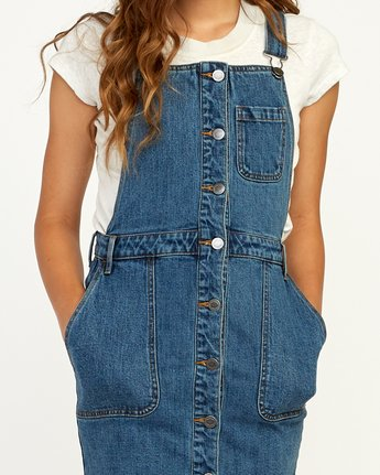 4 Conquer Denim Overall Dress Blue WD11TRCO RVCA
