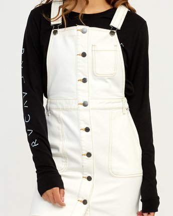 4 Conquer Denim Overall Dress White WD11TRCO RVCA